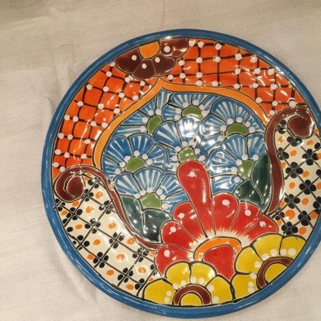 メキシコ グアナファト焼の丸プレート ブルーB