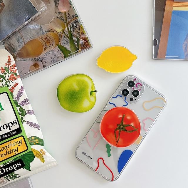 スマホグリップ 韓国 グリップトック シンプル かわいい おしゃれ スマホスタ ンド GRIPTOK 落下防止 デザイン トマト レモン アップル 果物 フルーツ モチーフ