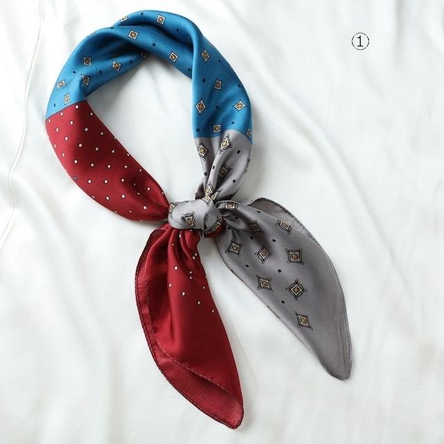 シルクスカーフ女性の小さな正方形のスカーフ 【210393】