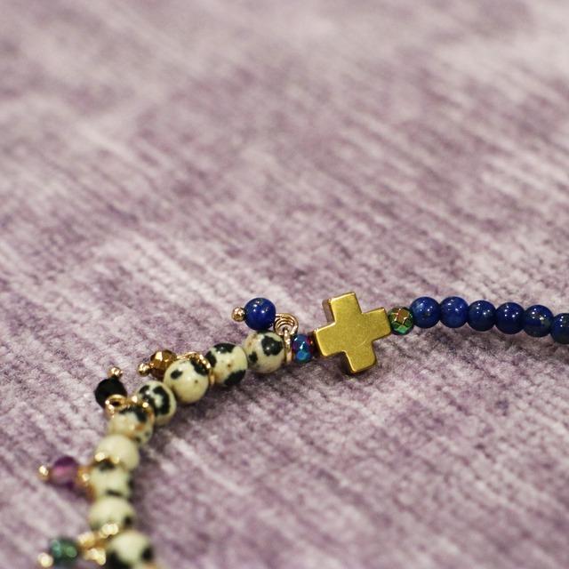 【COSMIC BLUE】ラピスラズリ×ダルメシアンジャスパー 〈ハーフフリンジ〉ブレスレット
