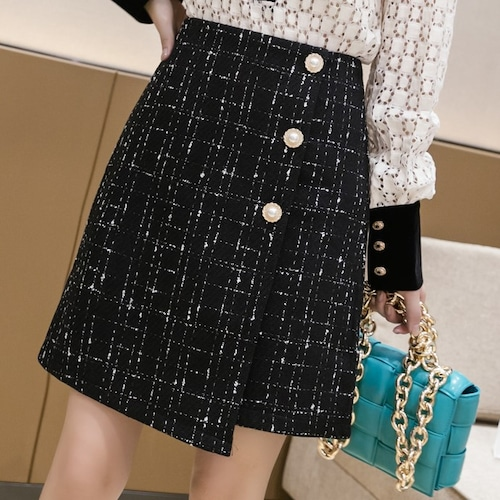 2色/ツイードラップスカート ・19315