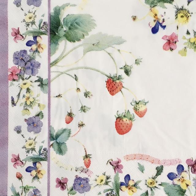 【FRONTIA】バラ売り1枚 ランチサイズ ペーパーナプキン イチゴとマーガレット ホワイト