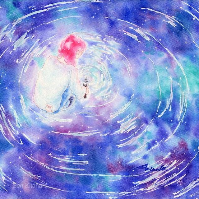 絵画 絵 ピクチャー 縁起画 モダン シェアハウス アートパネル アート art 14cm×14cm 一人暮らし 送料無料 インテリア 雑貨 壁掛け 置物 おしゃれ 水彩画 創作 物語 ロココロ 画家 : 北原 千 作品 : 宇宙の宝は何処なり WhereIs The Treasure Of The Universe