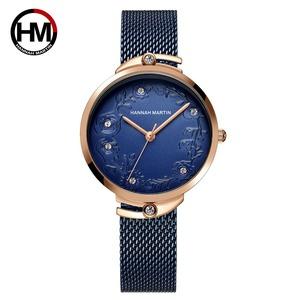 クォートムーブメントデザイン腕時計ローズゴールドブルーステンレススチールラインストーン時計女性用119 blue