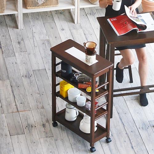スリムな4段キッチンワゴン。天然木製で綺麗なブラウンとホワイトの二色展開です。