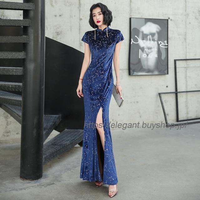 フィッシュテールドレス ベルベットチャイナドレス チャイナ風服 パーティードレス ロングドレス お呼ばれドレス イブニングドレス 大きいサイズ S M L LL 3L ネイビー 着痩せ