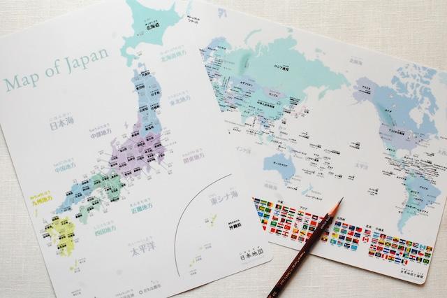 【下敷き】日本地図&世界地図 A4サイズ