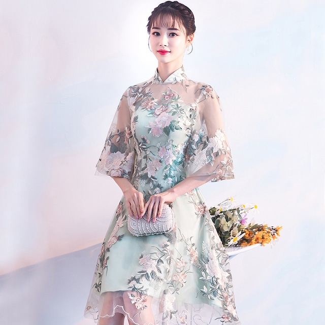 改良型チャイナドレス エレガント 着痩せ 上品 成人式 大きいサイズ SS S M L LL 3L レース 刺繍