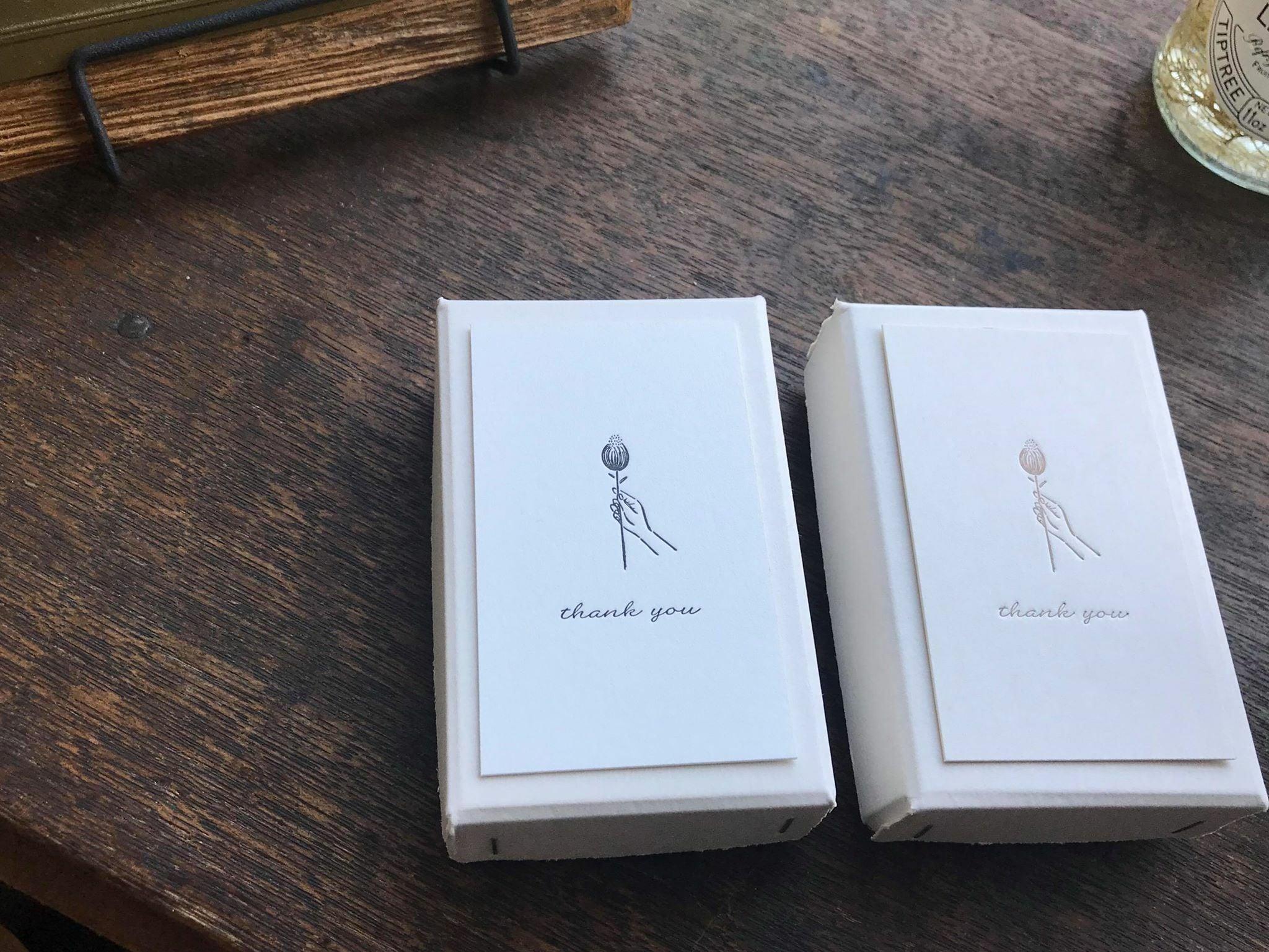 【活版印刷】Thank you card box  Bronze / Black(カード7種アソート30枚入り)