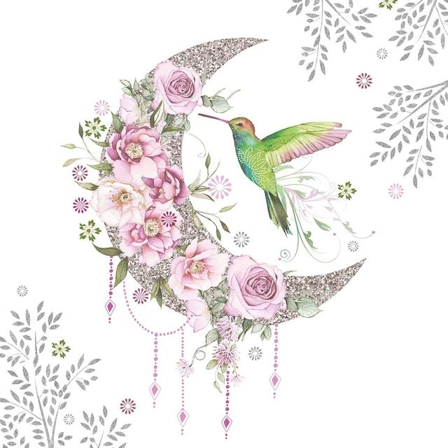 【Paperproducts Design】バラ売り2枚 ランチサイズ ペーパーナプキン Hummingbird Moon ホワイト
