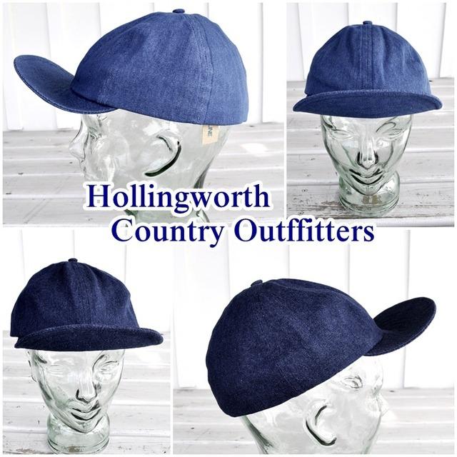Hollingworth country outfitters(ホリングワース カントリー アウトフィッターズ)イギリス製 メンズ レディース デニムキャップ 帽子 男女兼用 PE1001D