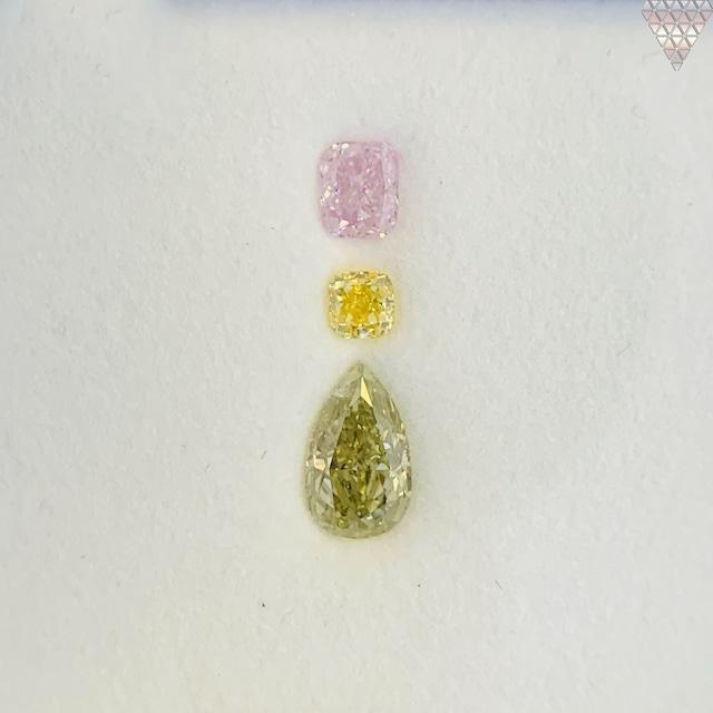 合計  0.72 ct 天然 カラー ダイヤモンド 3 ピース GIA  1 点 付 マルチスタイル / カラー FANCY DIAMOND 【DEF GIA MULTI】