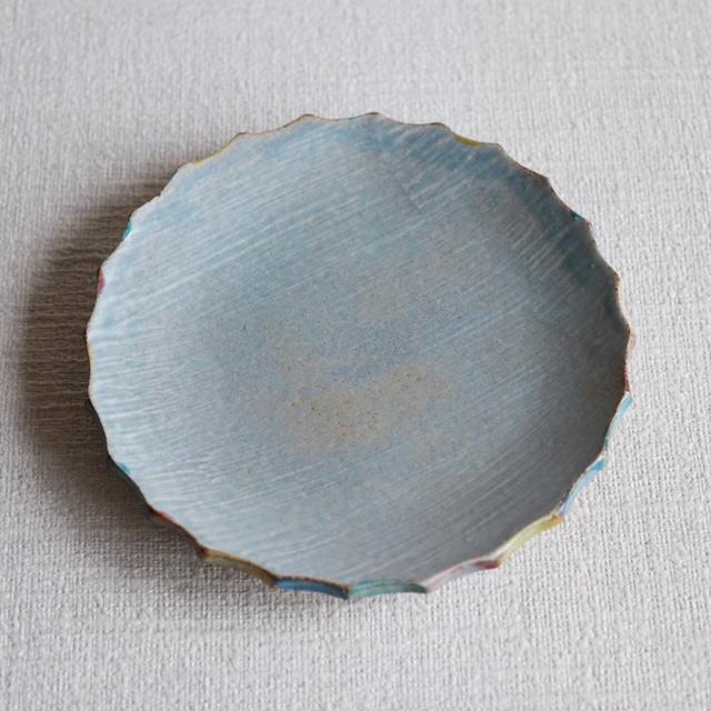 彩色輪花皿 Blue L