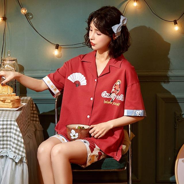 【小胖牛シリーズ】★チャイナ風パジャマ★ セットアップ トップス+短パン コットン レッド 赤い