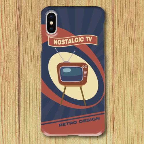 レトロポスター/TV/アメリカンポップ/レトロデザイン/ノスタルジック/ネイビー/iPhoneスマホケース(ハードケース)
