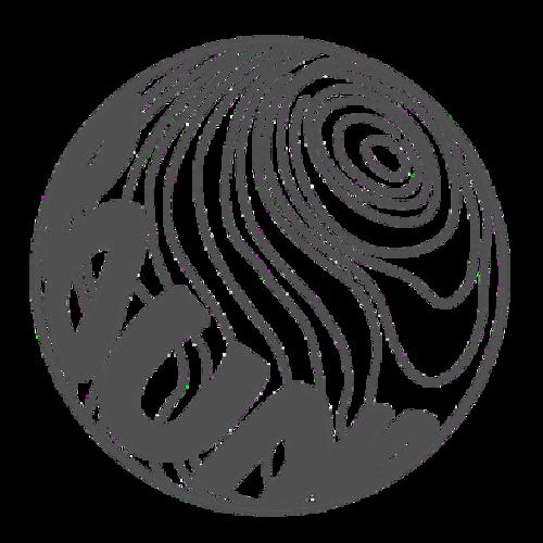 球体ロゴステッカー直径10cm【グレー】