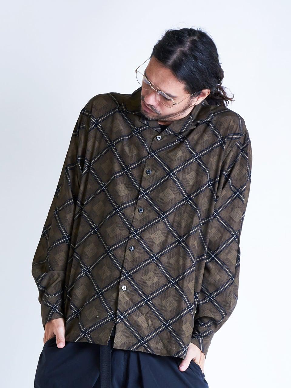 EGO TRIPPING (エゴトリッピング) RHOMBUS PATTERNED SHIRTS ロンバスパターンシャツ / BEIGE 613815-31