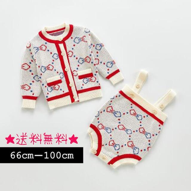 【66cm-100cm】秋冬☆ベビー ニット ロンパース+カーデ (405)