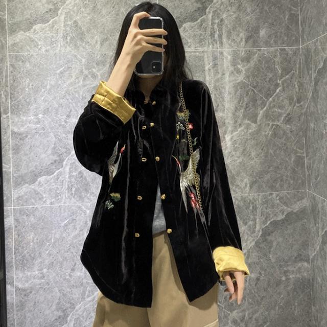 【亦悦阁シリーズ】★チャイナ風アウター★ 改良唐装 トップス  ベルベット 鶴刺繍入り 大きいサイズ ブラック 黒い
