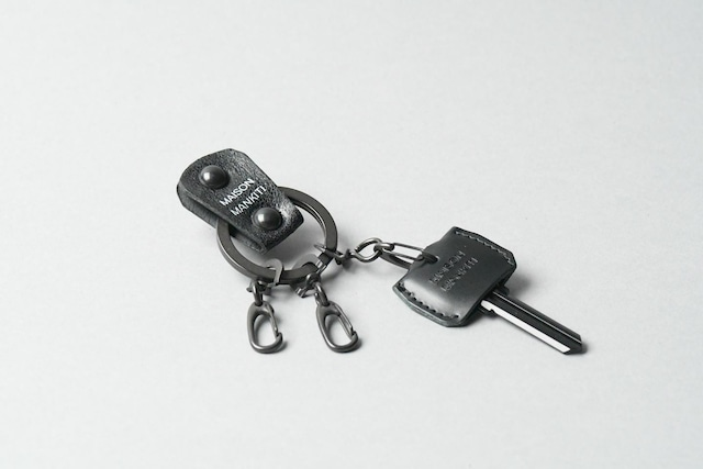 KEYRING・CAP ■ブラック・ブラック■_本革真鍮キーリング・キーキャップセット_ - メイン画像