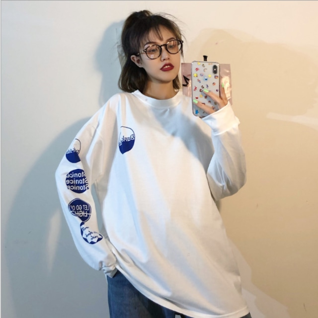 【トップス】アルファベットプリント長袖ラウンドネックTシャツ43313068