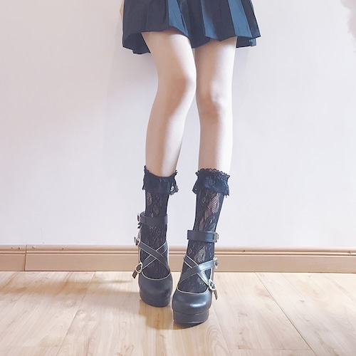 【即納】フリル付きレース靴下  2色