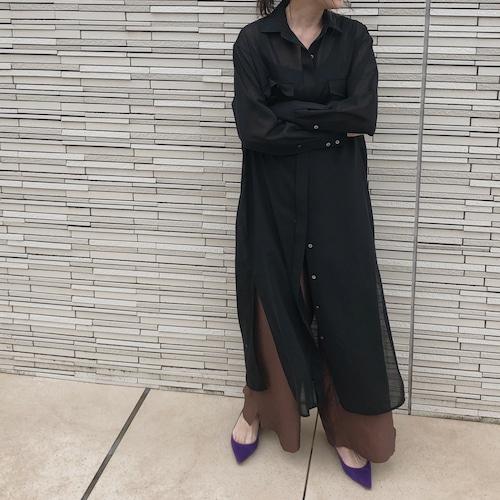 シアーロングシャツドレス ブラック