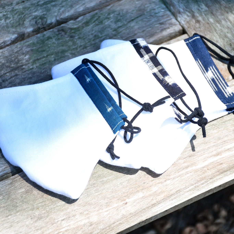 作州絣の入った手作りマスク