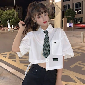 【トップス】無地ファッションキュートカジュアル半袖シャツ48267900