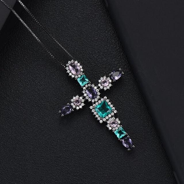 GODKI 高級多色クロススタッカブルペンダントネックレス美しいフルキュービックジルコンファッションチャームBKM