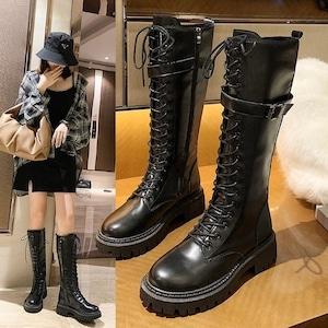 【シューズ】韓国系合わせやすい細見えボウタイ 大好評 暖かいロング丈ブーツ42906766