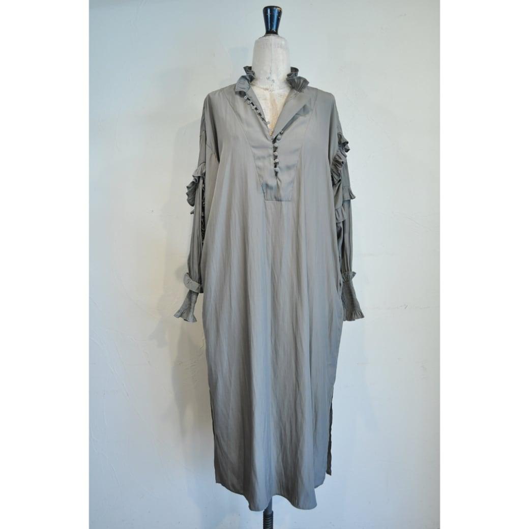 【RehersalL】 frill bijou onepiece(gray) /【リハーズオール】フリルビジューワンピース(グレー)