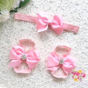 グログランリボン × ビジュー ベアフットサンダル(ライトピンク)ベビー・キッズ用 足飾り