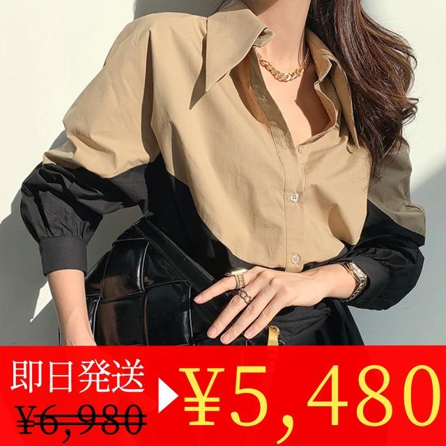 <ホワイト1点即納セール>コントラストデザインオーバーシャツ 2色展開