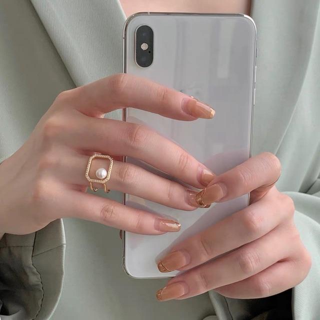 square mini pearl ring