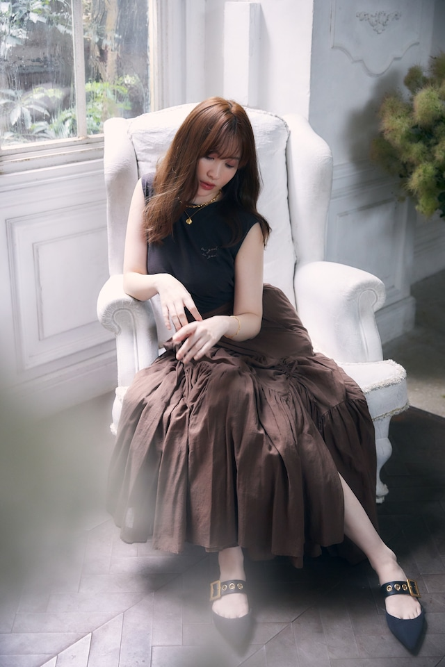 Asymmetric Tiered Cotton-Voile Skirt