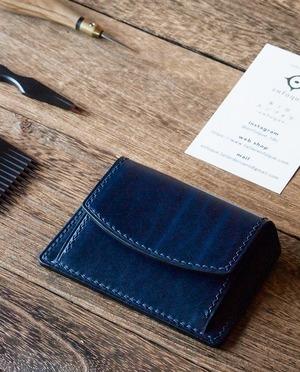 手縫い仕立てのコインケース カード入れ付き ベルギーレザー&イタリアンレザー