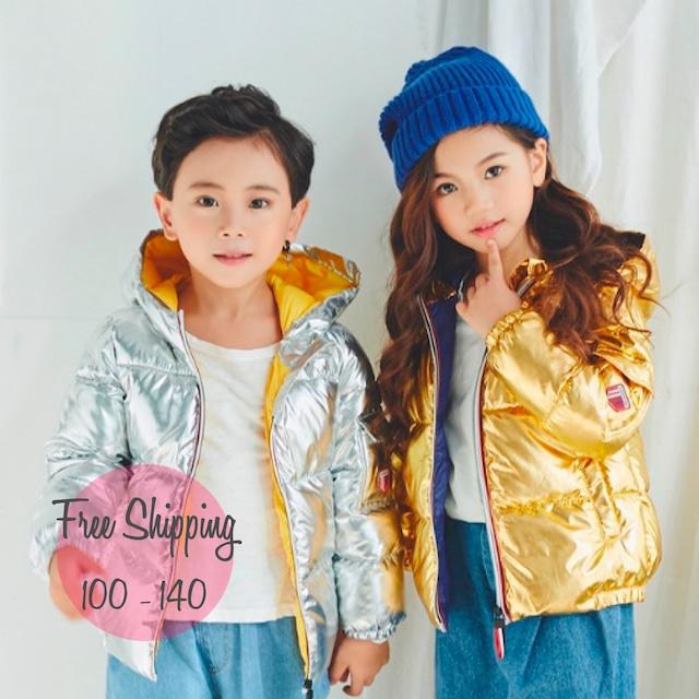 【100-140】韓国子供服❤メタリック★ジャケットアウター  4色 (550)