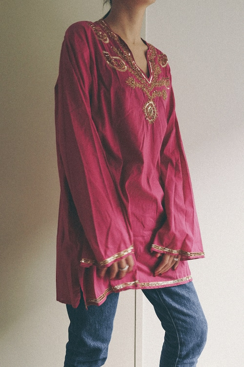 made in india fuchsia pink tops