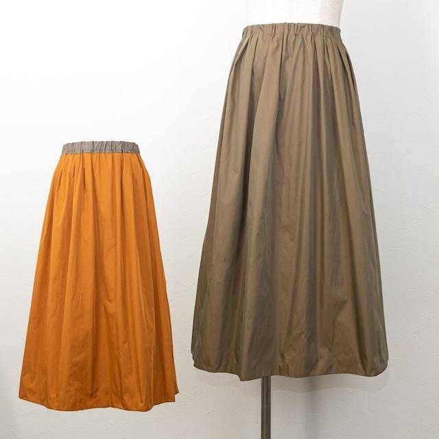 【PASSIONE/パシオーネ】メモリータフタリバーシブルギャザースカート(カーキ×テラコッタ)