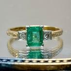 (昭和の懐かしいエメラルドの指輪)Japanese Traditional ring