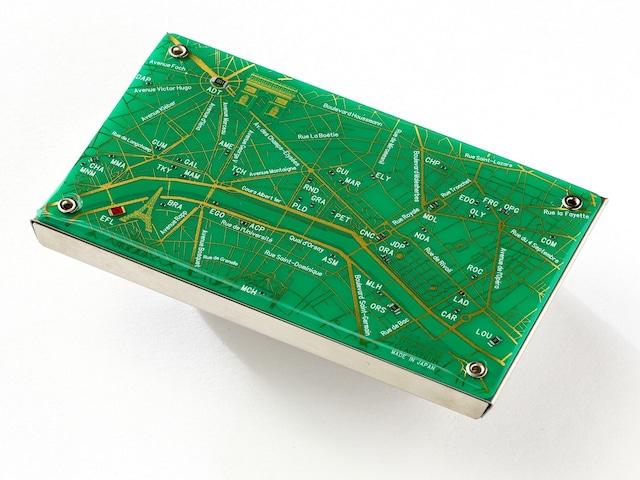 Paris回路地図 名刺入れ 緑 【名入れ無料サービス実施中】