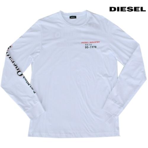 DIESEL ディーゼル Tシャツ 長袖 プリント Tシャツ ロンT メンズ T-DIEGO-LS-K25 WHITE 2021年秋冬モデル