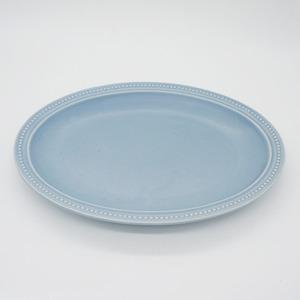 パンとごはんと... (Bread and Rice) RIM DOTS OVAL PLATE (リムドット オーバルプレート) Lサイズ 【ブルーグレー】