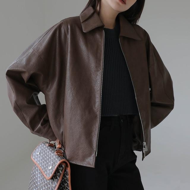 Fake leather jacket(フェイクレザージャケット)b-432