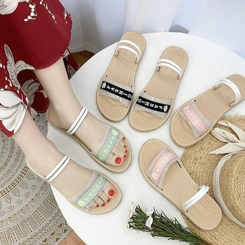 2WAY ストラップ サンダル フラットサンダル 韓国ファッション レディース ぺたんこサンダル 痛くない かわいい 靴 歩きやすい 616855832552
