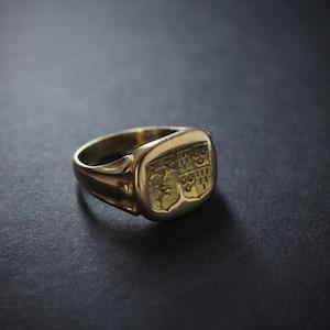 Gold Double Crest Intagrio Ring  ゴールド ダブルクレスト インタリオ リング