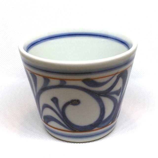 【砥部焼/梅山窯】蕎麦猪口(赤線唐草)