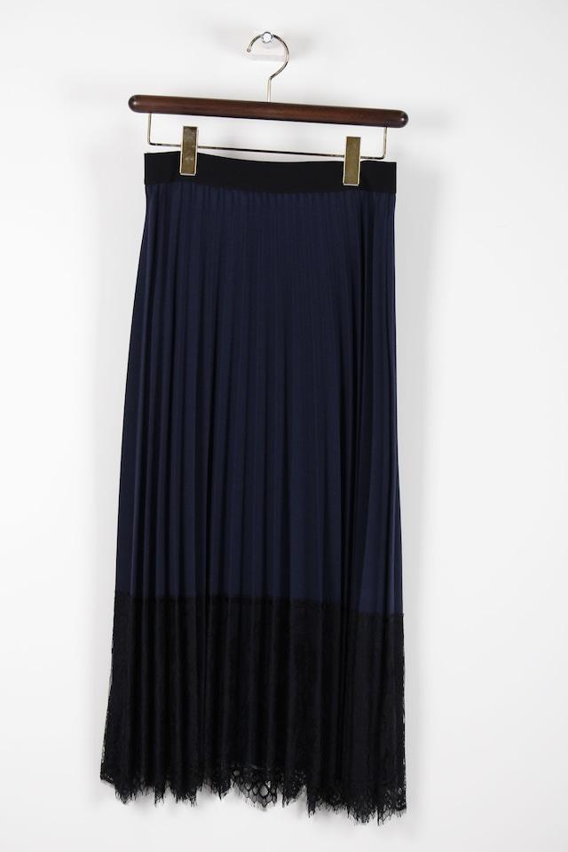黒レース貼り付けプリーツスカート【ネイビー】1072W