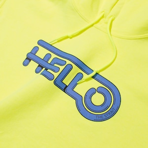 HELLO HOODIE #SAFETY GREEN